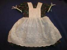 """Doll Clothes 18"""" - Beautiful Green Holly Print Cotton Pinafore Dress #316"""