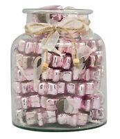 Stern Hänger 48-tlg. Glas mit Baumschmuck Sterne Bauernsilber Glas pink 48 Teile