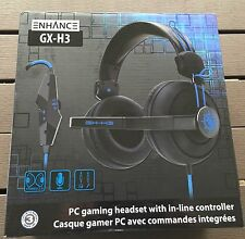 ENHANCE GX-H3 PC Gaming Headset + IN-LINE CONTROLLER Ear Padding  Adjustable Mic