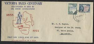 Rhodesia & Nyasaland Victoria Falls Cent. FDC to stamp designer
