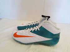 Nike Men Vapor Pro 3/4 Mid Dolphins Football Cleats Sz 16 White Green 544761 117