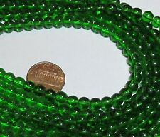 Two 6mm Glass Bead Strands (100 Smooth Round Beads) -Emerald Green Color