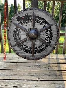 Medieval Grey Ouroboros Battleworn Viking Shield