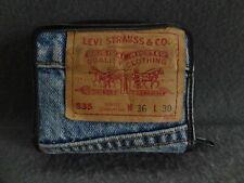 Levi's VTG Denim Zip Wallet Pouch Blue Jean Black Trim Bi-Fold Coin Purse ID