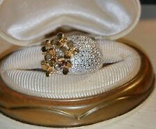 Ross Simons 2 tone 18k yellow gold/sterling silver flower diamond wide Ring
