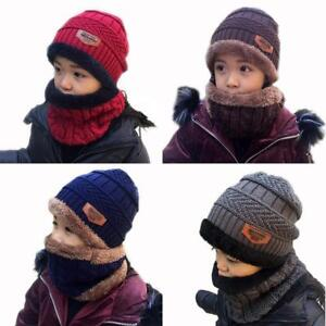 Kids Boys Girls Winter Hat and Scarf Set  Circle Scarf And Warm Knit Beanie Cap