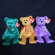 Ty Beanie Babies 2003 Decade 10 Year Anniversary Lot 3 Bears Green Gold Purple