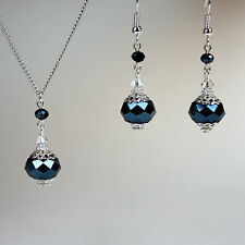 Midnight blue crystal silver necklace earrings wedding bridesmaid jewellery set