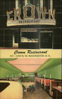 Washington DC Crown Restaurant ART DECO LINEN Postcard