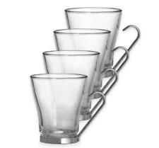 Bormioli Rocco Oslo Cappuccino Mugs Stainless Steel Handle 4 Set Morning Coffee