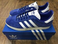 new product 89a6b 4d43a ADIDAS GAZELLE TRAINERS UK 10.5 BLUE SUEDE LOW TOP MENS SHOES LEICESTER CITY