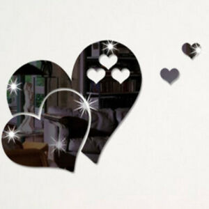 3D Mirror Love Hearts Wall Sticker Home Room Removable Art Mural Decor Decal DIY