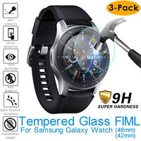 9H HD Tempered Glass Screen Protector For Samsung Galaxy Watch 42mm 46mm 3-PACK