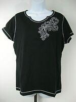 SB Active Size XL Black Short Sleeve 100% Cotton Knit Top