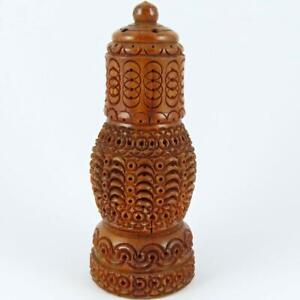 ANTIQUE VICTORIAN HAND CARVED COQUILLA NUT VEGETABLE IVORY SEWING ETUI HOLDER #3