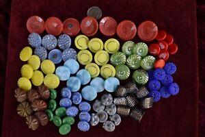 91 pcs LOT OLD CZECH  VINTAGE GLASS BUTTONS 1930´s ART-DECO