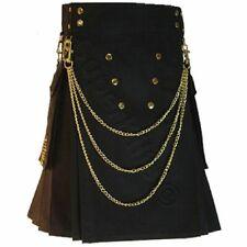 New Modern Black Utility kilts Kilt for Men with Chains