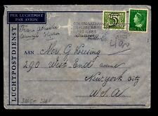 Netherlands 1941 Censor Cover to USA / 40c + 5c  - L9707