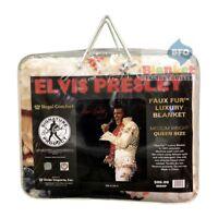 """Elvis Presley Aloha Hawaii Jumpsuit Queen Size Blanket 79"""" x 96"""""""