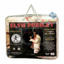 Elvis Presley Aloha Hawaii Jumpsuit Faux Fur Mink Queen Size Blanket NEW