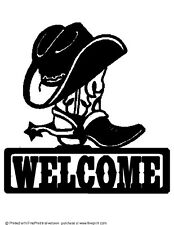 COWBOY BOOT AND HAT WELCOME SIGN