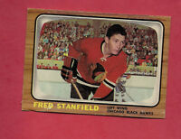 1966-67 OPC  # 56 CHICAGO HAWKS FRED STANFIELD  CARD