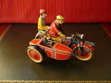 Exceedingly Rare GELY XY-176 George Levy Tin Wind-up Sidecar Motorcycle w/ light
