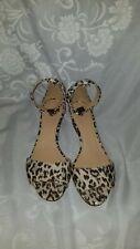 17ed1f72d75 J CREW Laila Leopard Wedges Sz 7.5 Sandals Open Toe Ankle Strap Heels