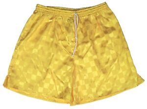 Gold Checker Polyester Soccer Shorts by High Five - Men's Large
