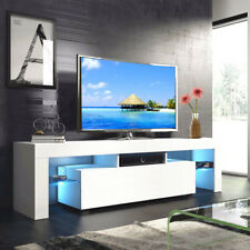 High Gloss White 63'' TV Stand Unit Cabinet with LED Light 2 Drawers Console RC