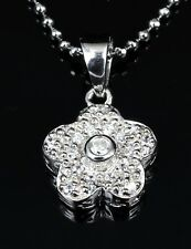 Genuine 925 Sterling Silver Beautiful CZ Pave FLOWER Pendant Necklace Xmas gift