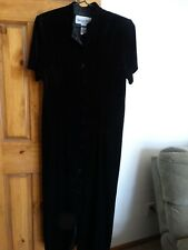 Another Thyme women's short sleeve button down soft touch black dress size 14P