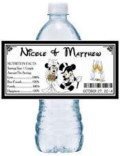 50 DISNEY MICKEY & MINNIE WEDDING WATER BOTTLE LABELS  ~ waterproof ink