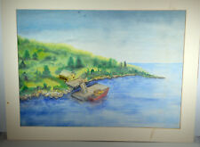 "22"" Vintage Watercolor Painting on Paper Wharf View With Small Boat Cabin Lake"