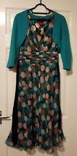 Ladies Monsoon Green/Beige/Black Dress Size 8/10