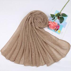 Women's Crinkle Cotton Scarf Gold Glitter Muslim Hijab Scarves Shawl Head Wrap