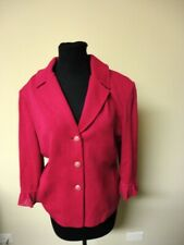 ST. JOHN COLLECTION Pink Solid Wool Blend Button Down Blazer Jacket Sz 12 HH3166
