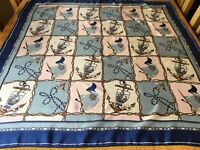 VINTAGE HAND ROLLED NAUTICAL SILK SCARF.  VGC.  35 x 33 INCHES.  FAB! ~