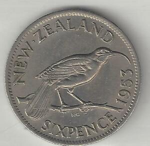 NEW ZEALAND, 1953, 6 PENCE, COPPER NICKEL, KM#26.1, ALMOST UNCIRCULATED