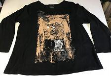 Venezia L/S Black Knit Shirt Owl Screen With Bling Size 18/20