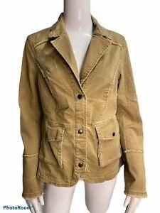 Free People Lace Sleeve Button Ruffle Back Jacket Khaki Denim Shirt Size Medium