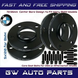 4Pc Black Anodized BMW 5x120 Wheel Spacers Kit 10mm Thick I.D 72.56mm With Bolts