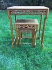 Vintage hand carved rose wood nesting tables