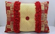 Tapestry Pillow Burgundy Gold Check w Fringe Embellishment Button Rectangle EUC