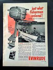 Vintage 1951 Evinrude Fleetwin Boat Motor - Full Page Original Ad