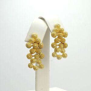18K Gold 750 Textured Solid Bead Balls Dangle Post Designer Style Earrings