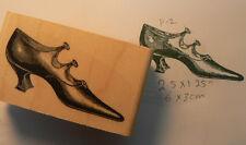 """P12 Victorian shoe rubber stamp 1x2.3"""" WM"""