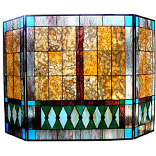 Mission Design Stained Glass Fireplace Screen