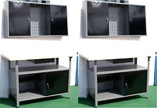 2 x WERKSTATT Set schwarz Montage Tisch Werkbank Werkzeug Schrank Metall Neuware