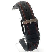 Di Modell chronissimo Rojo Stitch negro cuero reloj correa: 18 / 20 / 22 mm (R3)